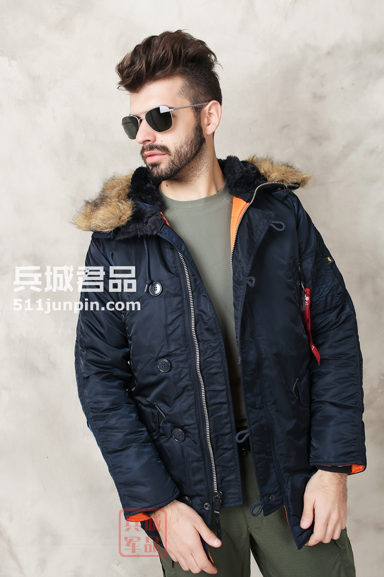 美国正品Alpha阿尔法 N3B 假毛瘦身版 缎面 男式棉服防寒风衣