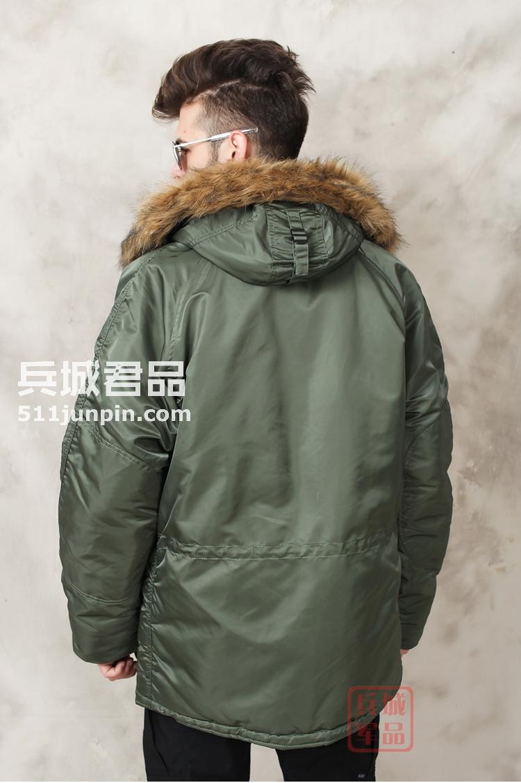 美国正品Alpha阿尔法 N3B 假毛普通版男士防寒大衣