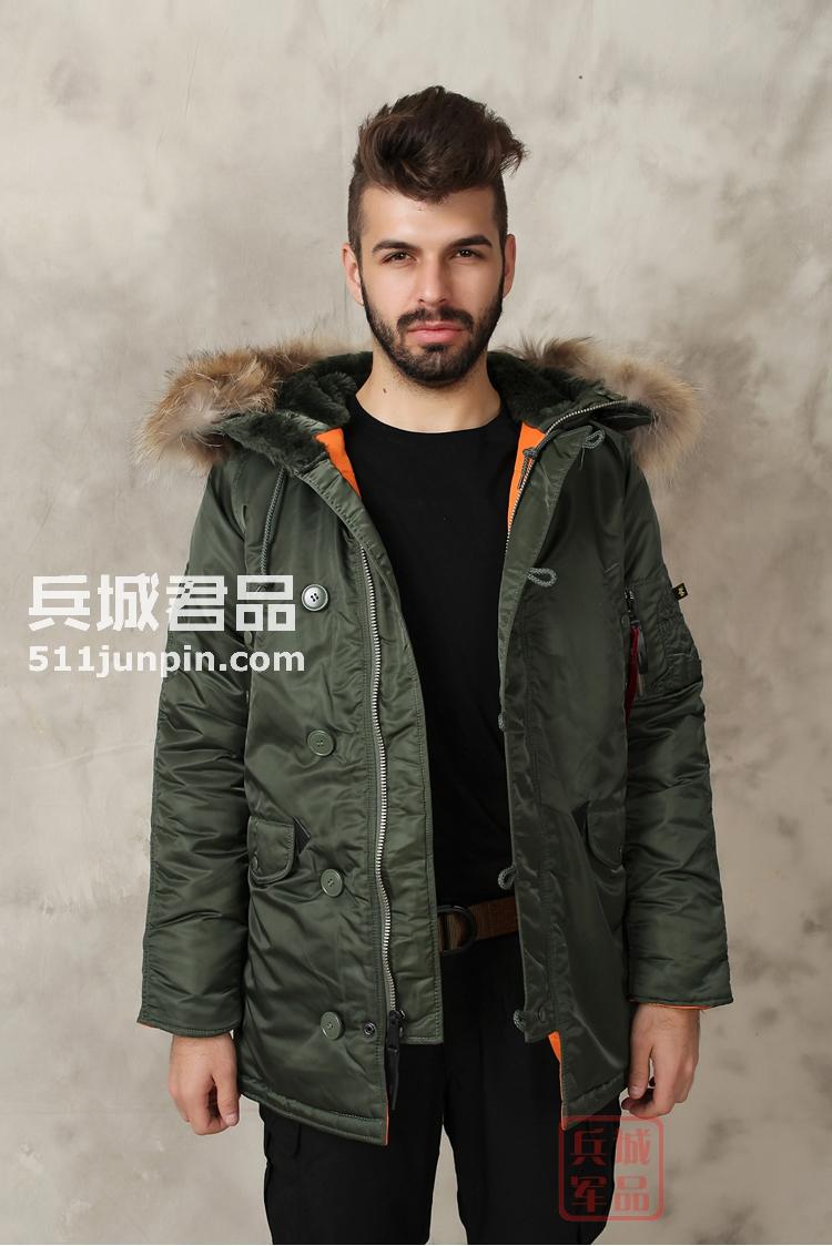 美国正品阿尔法Alpha N3B真毛领瘦身版男士防寒大衣