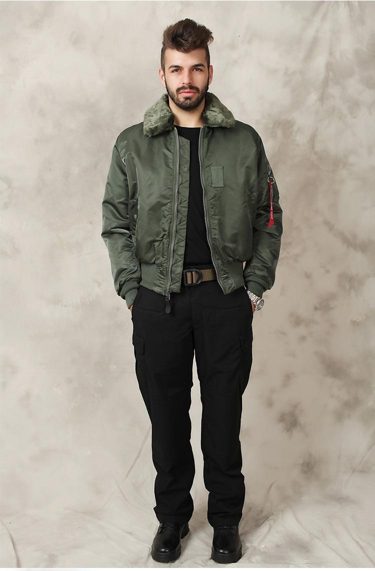 美国正品 alpha 阿尔法 大毛领男士保暖飞行夹克 B-15 普通版