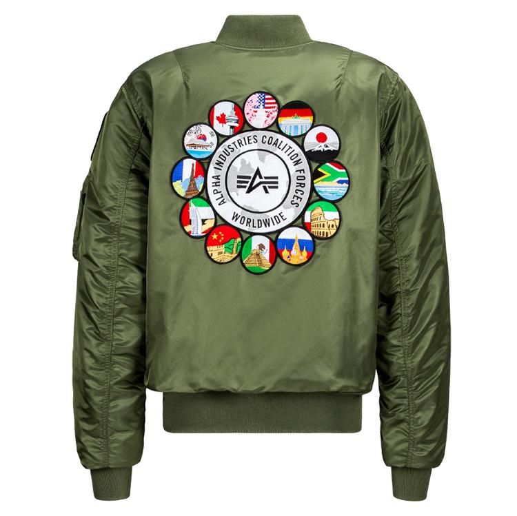 ALPHA INDUSTRIES美国阿尔法工业空军飞行员夹克外套ma1联军飞行夹克修身夹克外套棉服